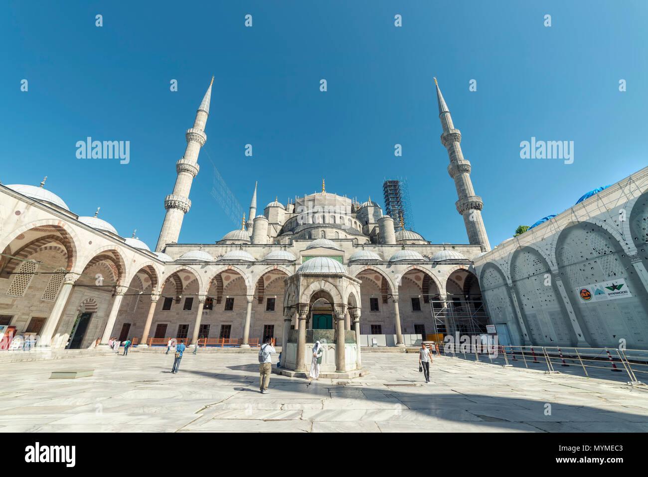 Sultan Ahmet Mosque Exterior, Istanbul, Turkey - Stock Image