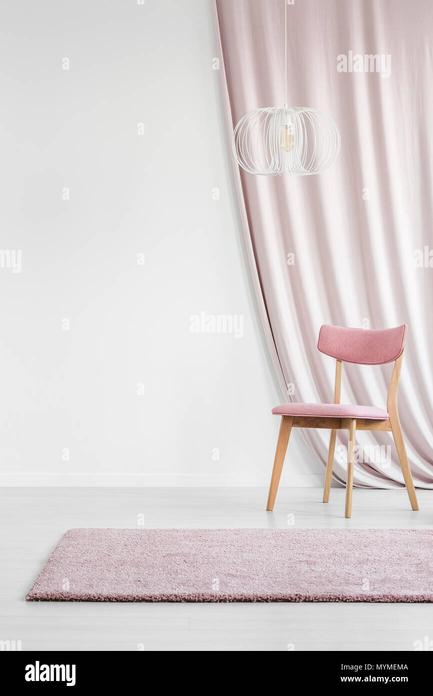 Feminine, Pastel Pink Chair, Rug And Curtain In White Living Room Interior  With Copy Space