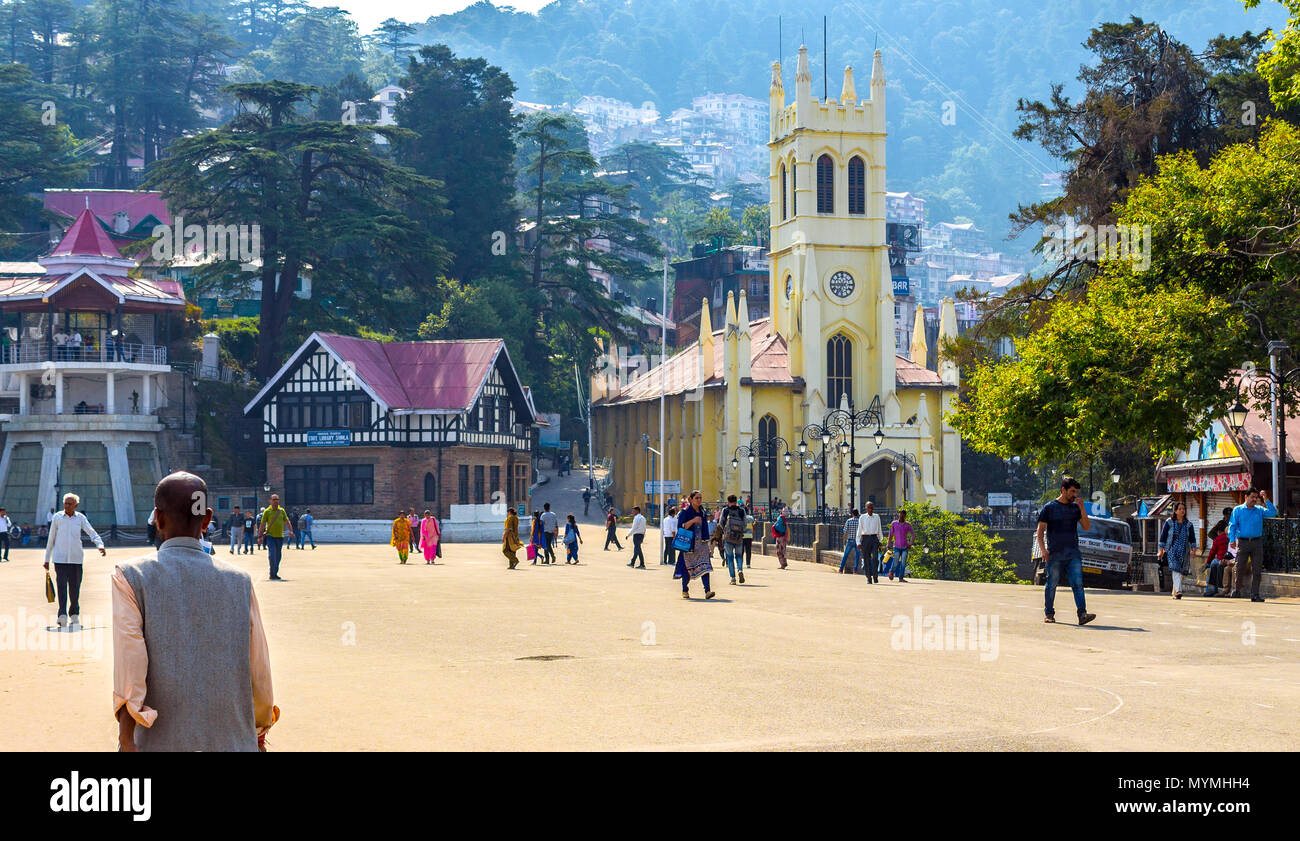 Christ Church on Shimla mall road. The majestic appearance of the church and its stunning location makes it prime attraction to visit. - Stock Image