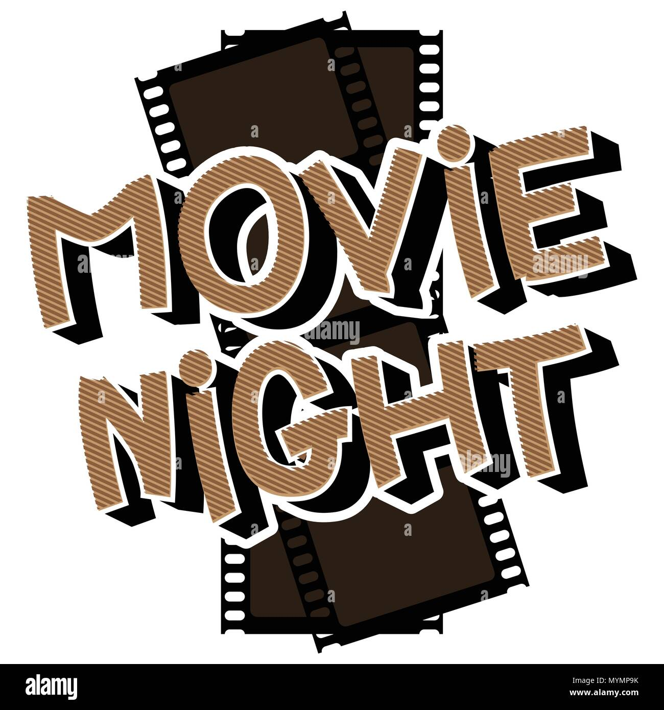 Movie Night - Comic book style word with film strip on the background. - Stock Image