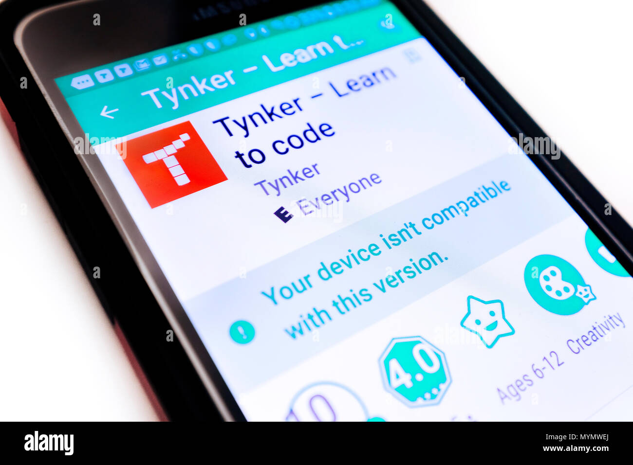 Illustrative Editorial image of a Samsung smartphone with the Tynker App logo on the screen. - Stock Image