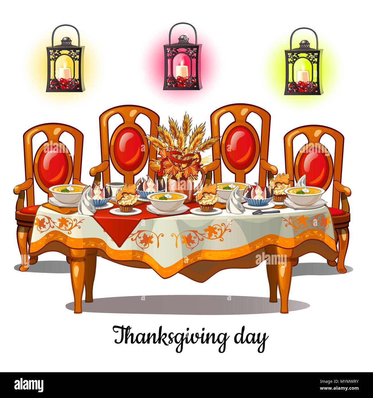 Festive Table With Food On Thanksgiving Day. Vintage