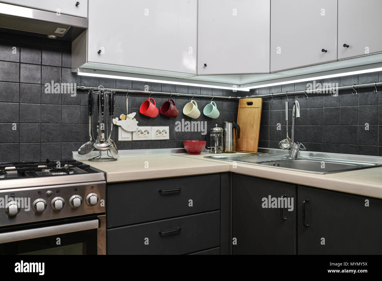 A fragment of the modern style kitchen with rail system and kitchen utensils and houseplant - Stock Image