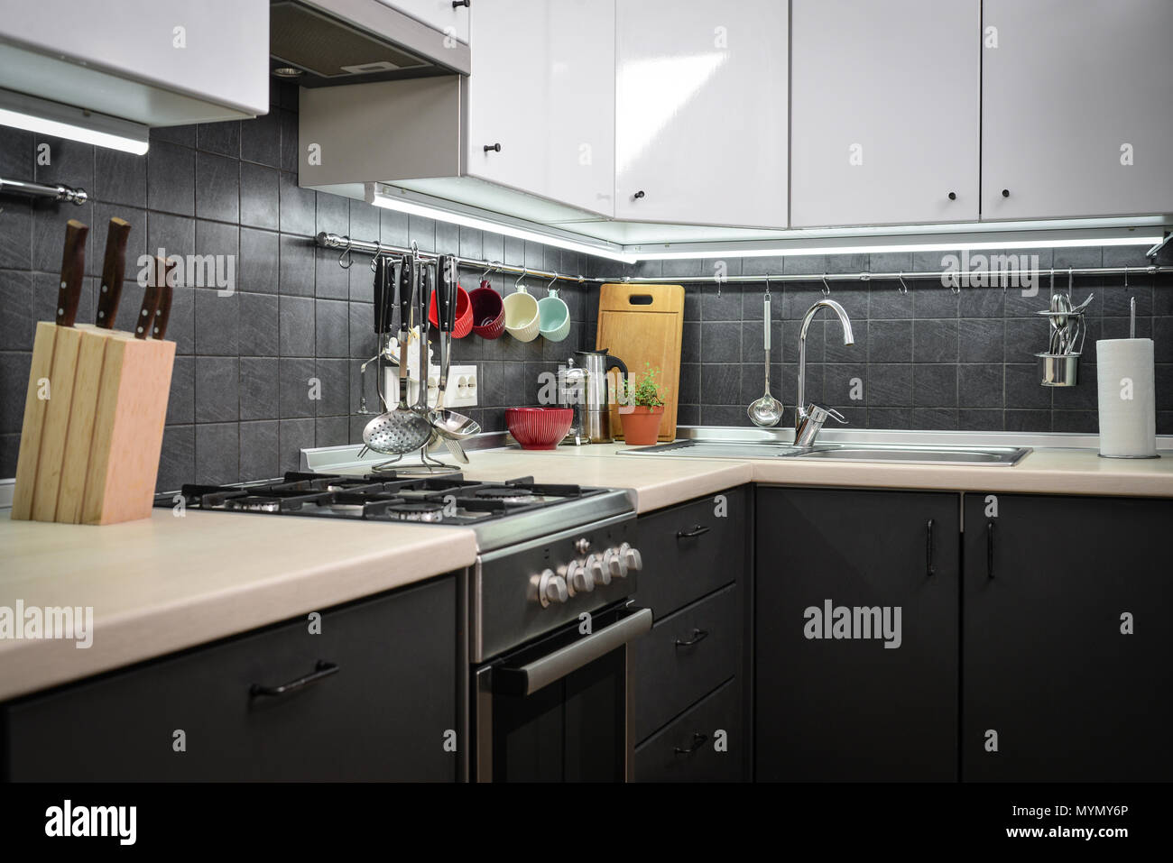 A fragment of the modern style kitchen with rail system and kitchen utensils and houseplant Stock Photo