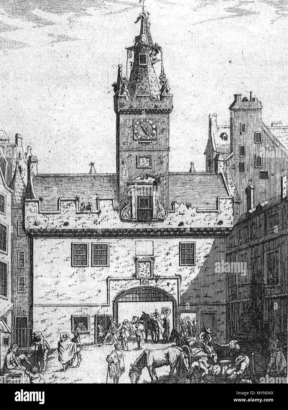 . The Netherbow, the main gate into Edinburgh, prior to its demolition in 1764. Seen from the High Street to the west (inside). before 1764. Unknown 385 Netherbow W Stock Photo