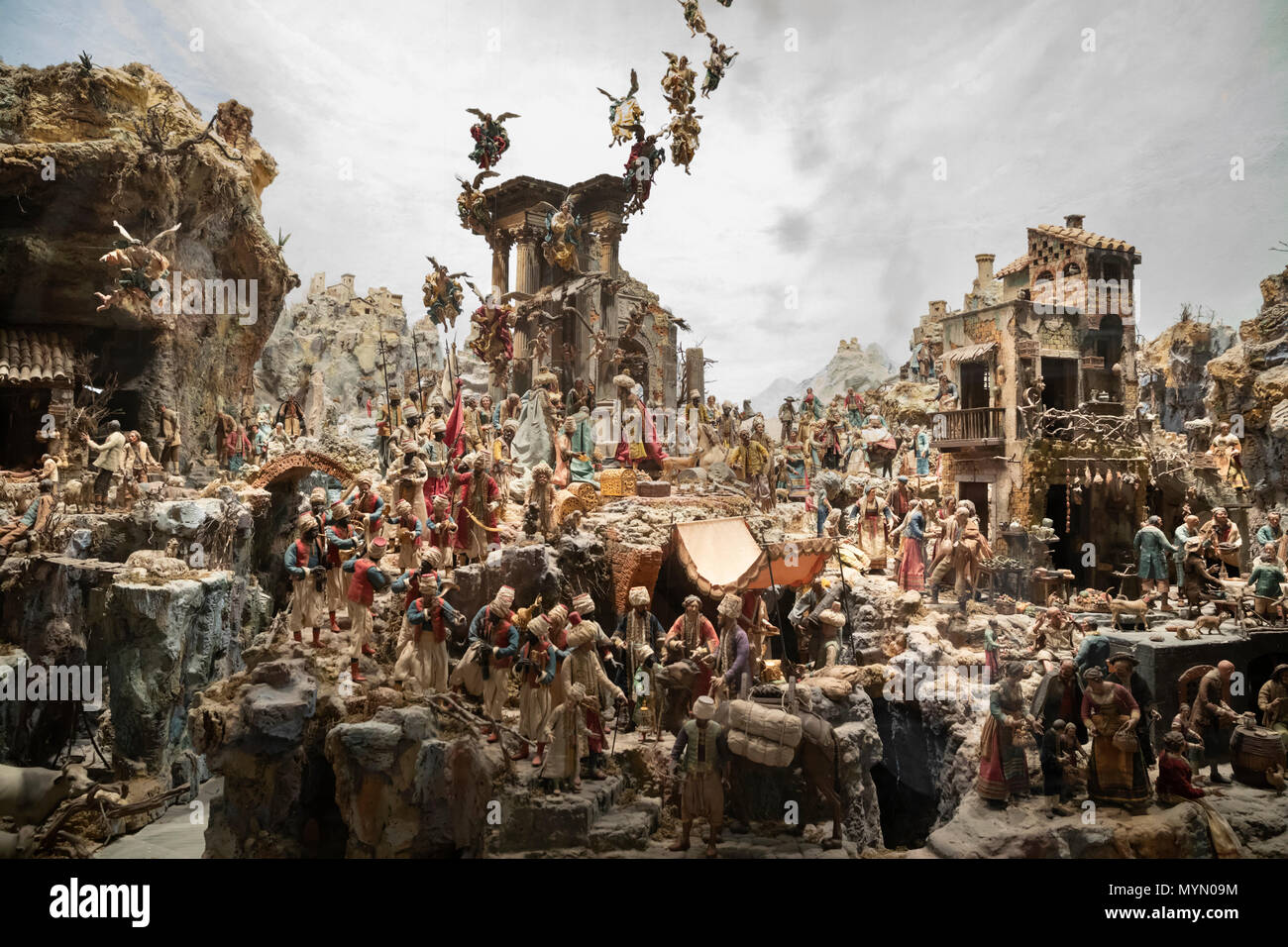 The huge presepe (nativity crib) scale model in the Certosa di San Martino, Naples, Campania, Italy, Europe - Stock Image