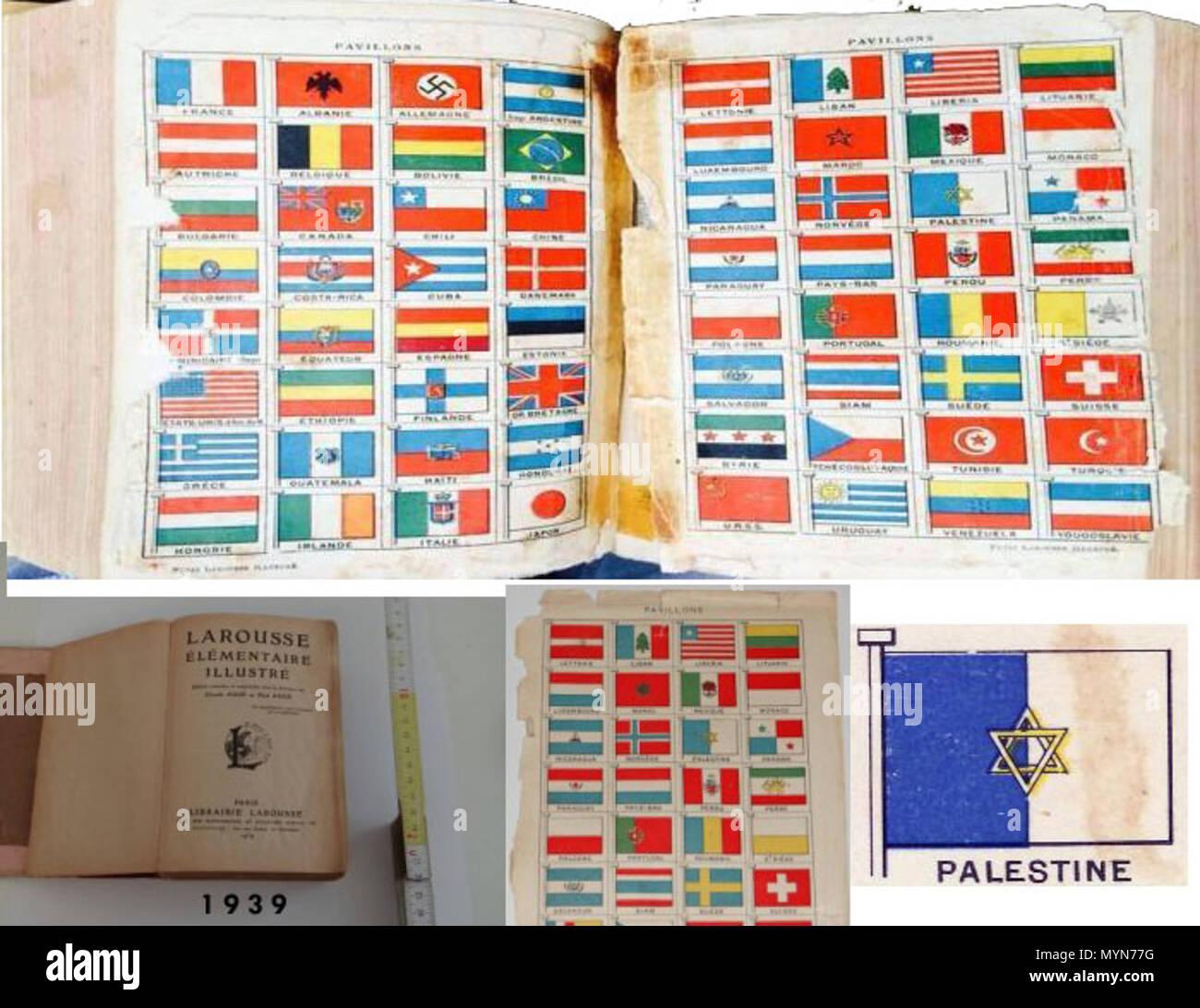. Русский: Согласно французскому словарю Ларус (Larousse) 1939 года [1] Флаг Палестины представлял из себя разделённое вертикально пополам бело-голубое поле с голубой частью у древка и изображённой в центре шестиконечной звездой Давида. 1939. Larousse 1939 406 Palestin-flag-1939 - Stock Image