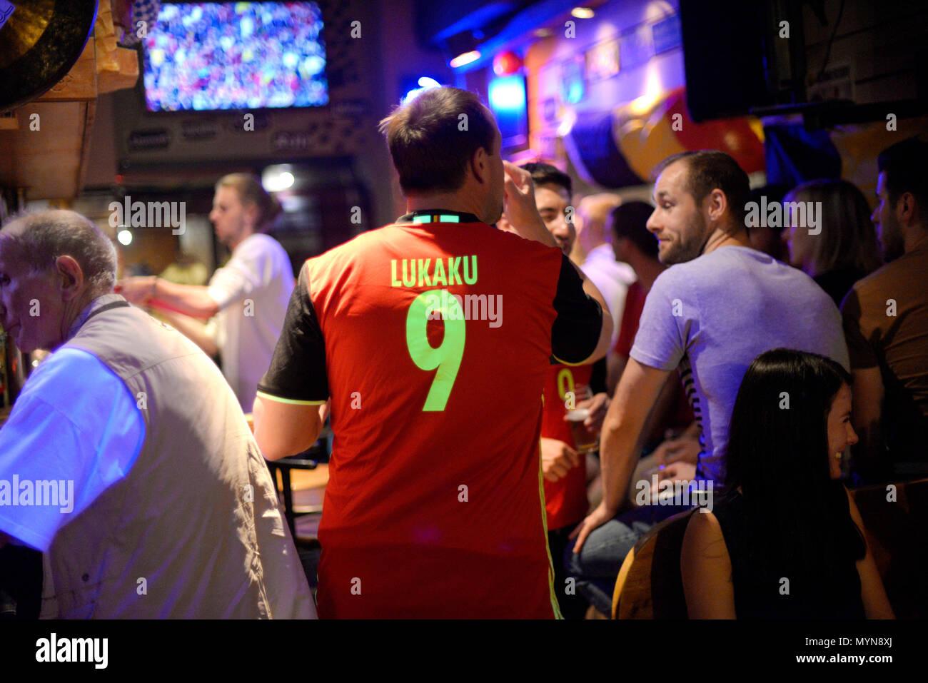 June 2nd, 2018 - Zottegem  Belgian football fans - Stock Image