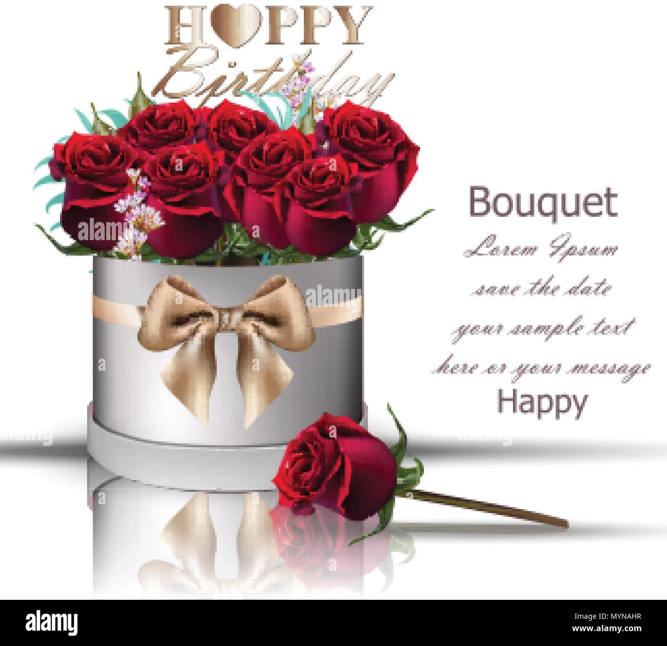 Happy Birthday Red Roses Bouquet Vector Vintage Floral Gift Box