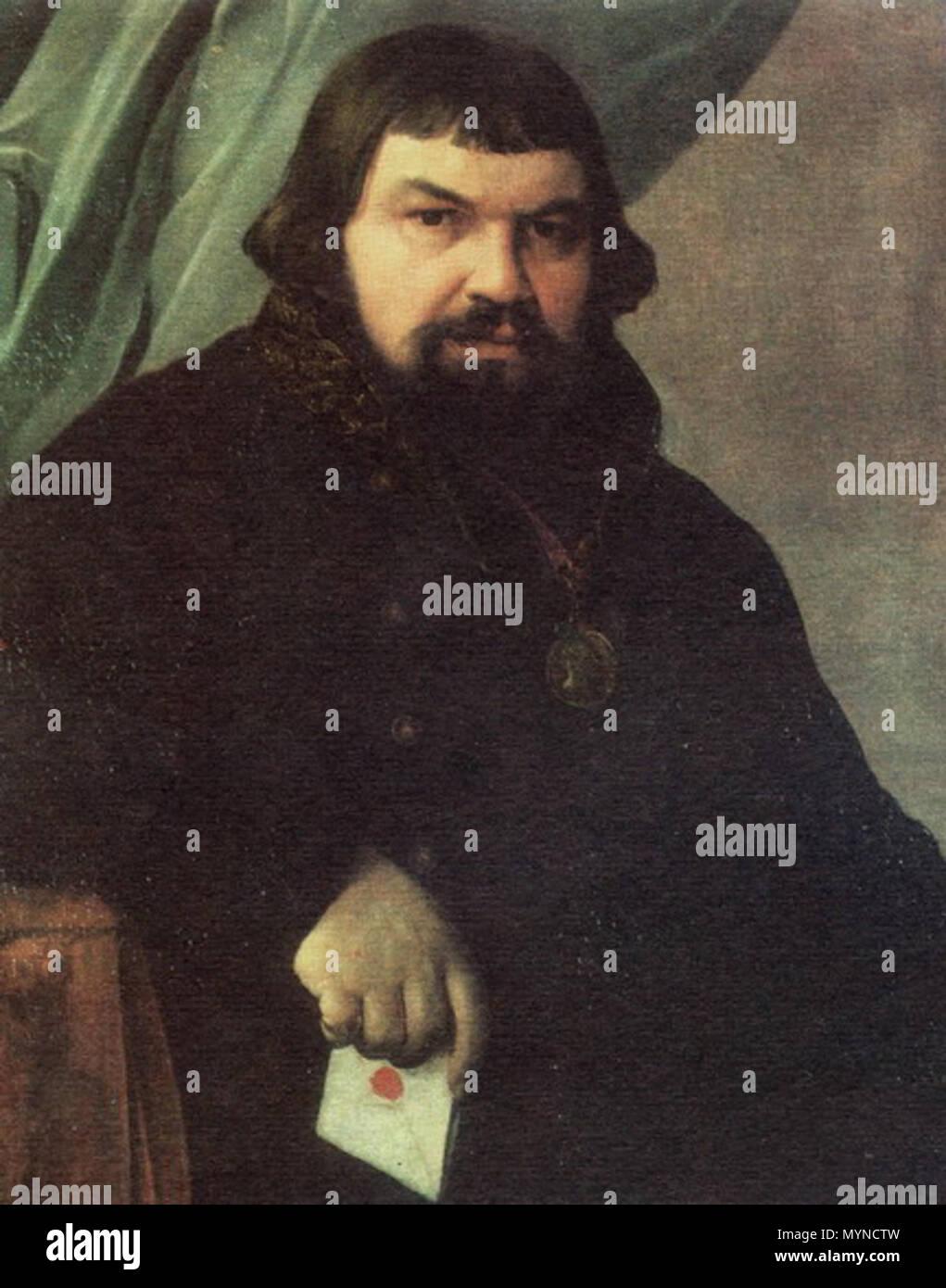 . Alexey Venetsianov. Portrait of the Merchant Obraztsov. 1830s. Oil on canvas. 1830s. Venetsianov 394 Obraztsov by Venetsianov - Stock Image