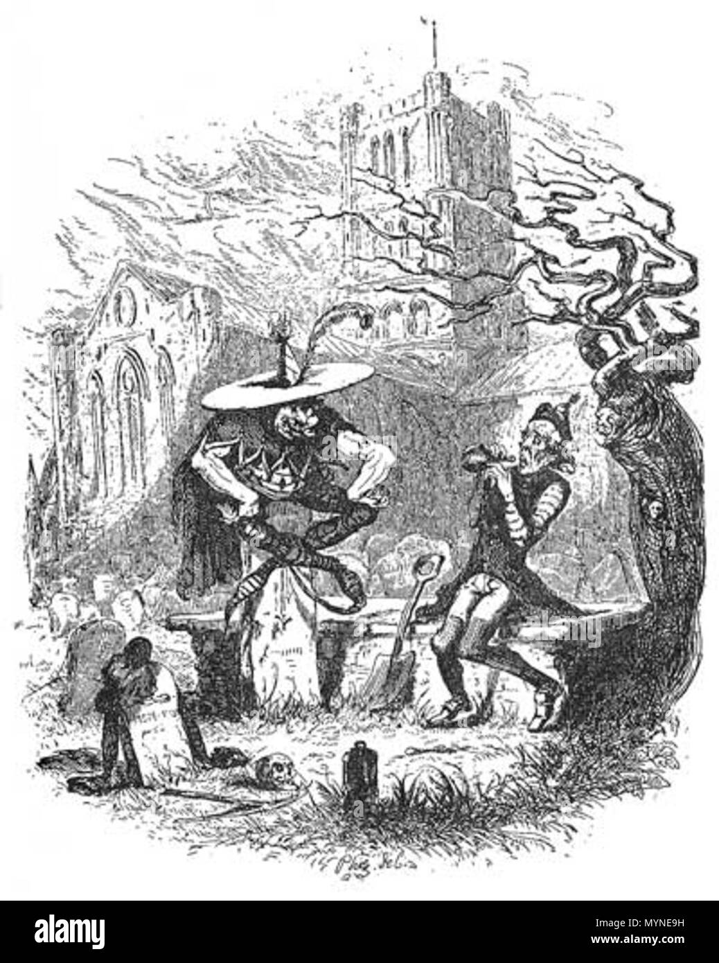 English: Pickwick Papers, The Goblin and the Sexton   1837