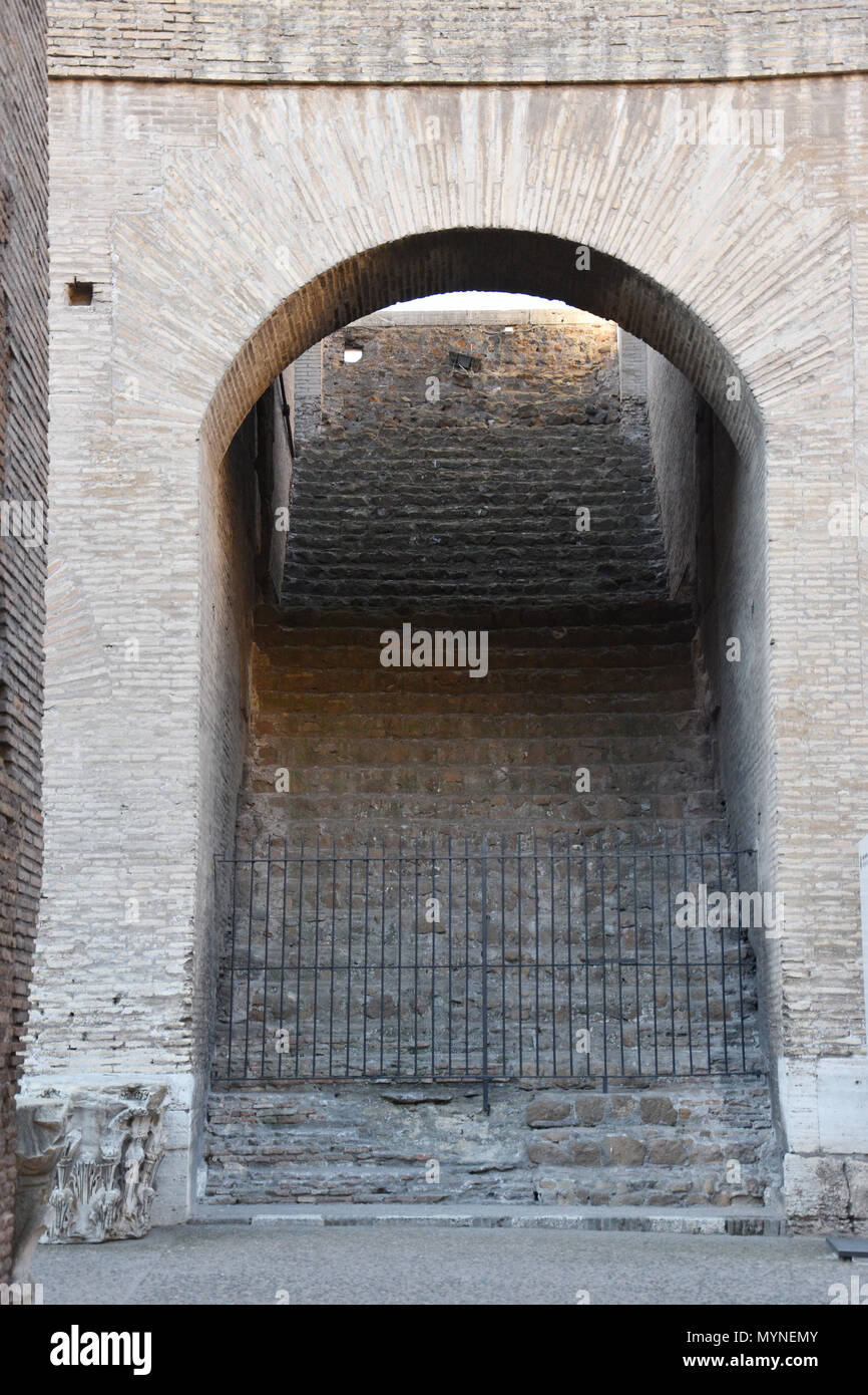 Steep interior steps to the upper sections of the Colosseum (Coliseum) or Flavian Amphiteatre in the centre of Rome, Italy. Stock Photo