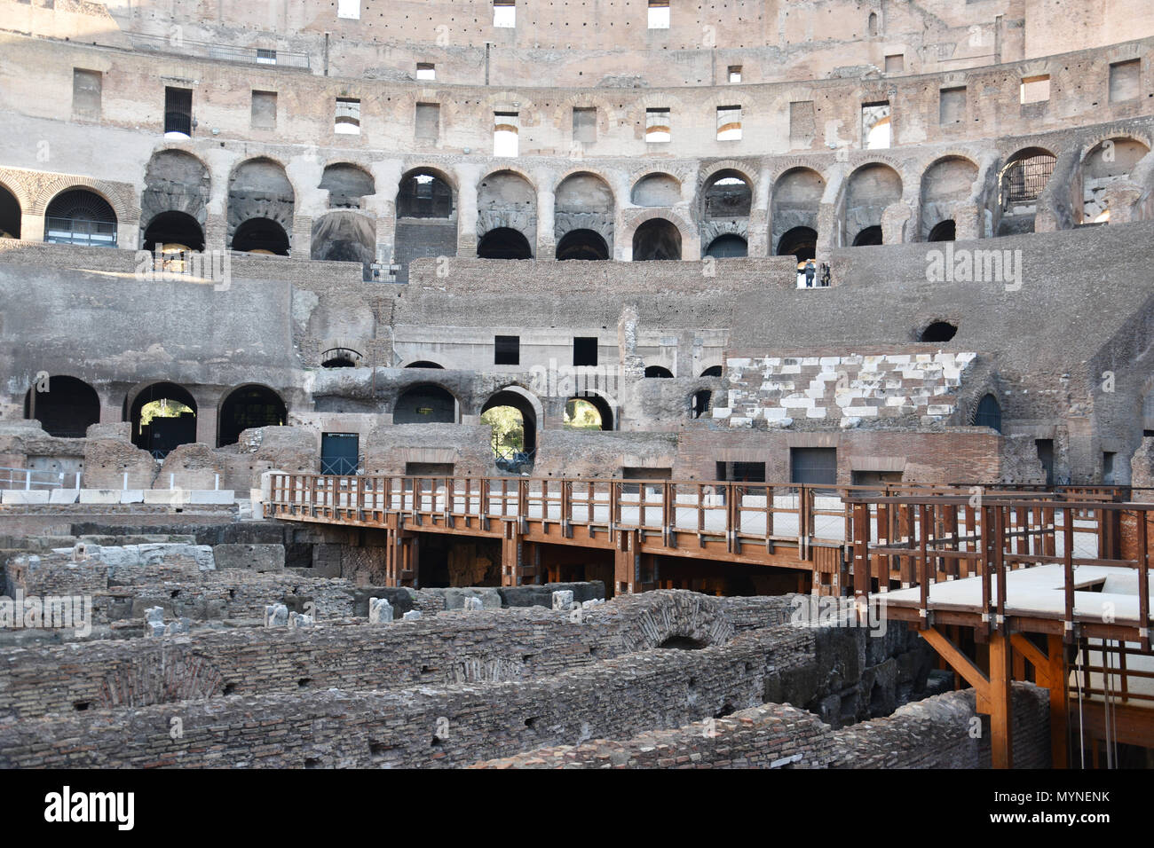 Interior view of stands and floor in the Colosseum (Coliseum) or Flavian Amphiteatre in the centre of Rome, Italy. Stock Photo