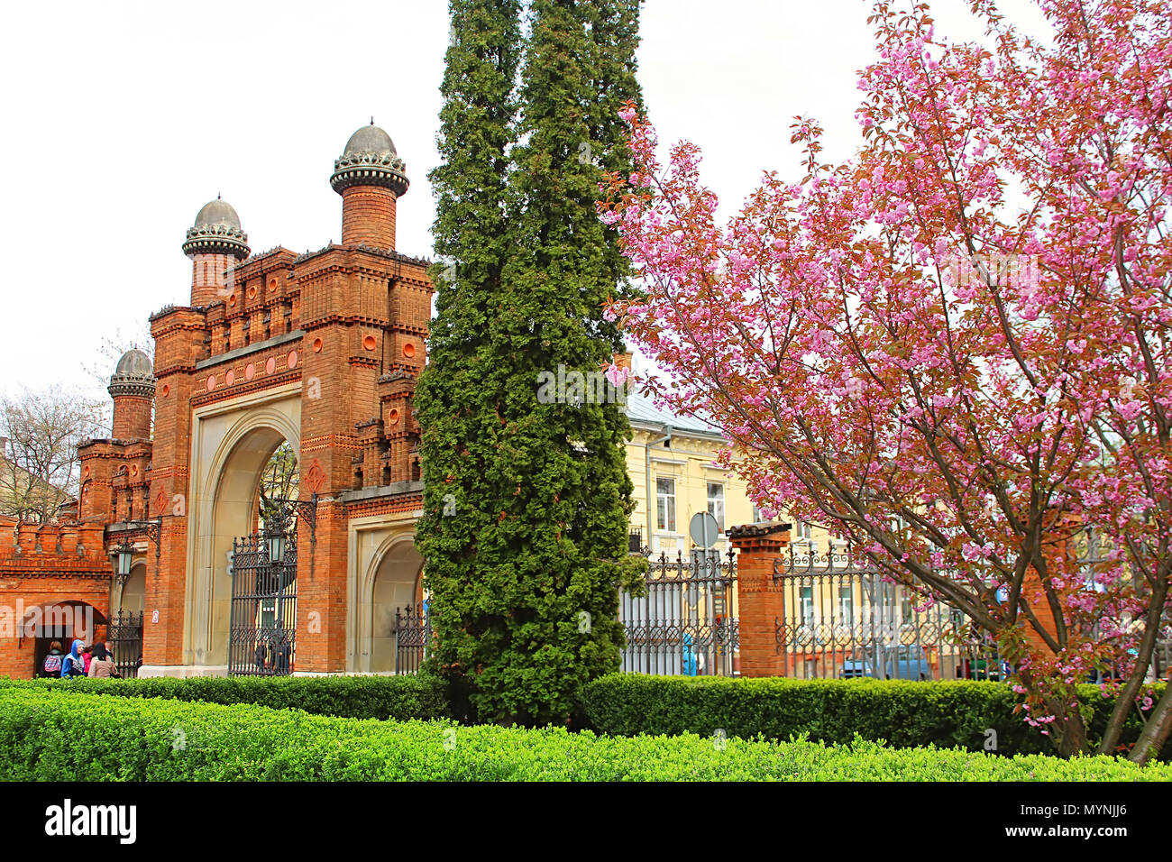 CHERNIVTSI, UKRAINE - APRIL 22, 2017: Entrance to Chernivtsi University (the former Metropolitans residence), Ukraine - Stock Image