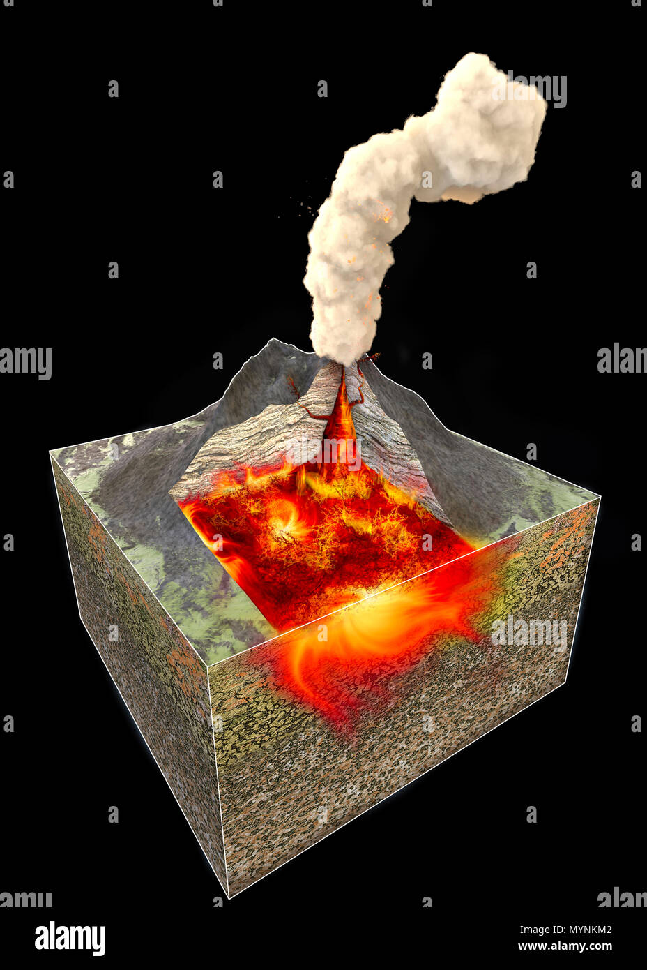 Volcano cross section stock photos volcano cross section stock section of a volcano 3d rendering structure and 3d section stock image ccuart Gallery
