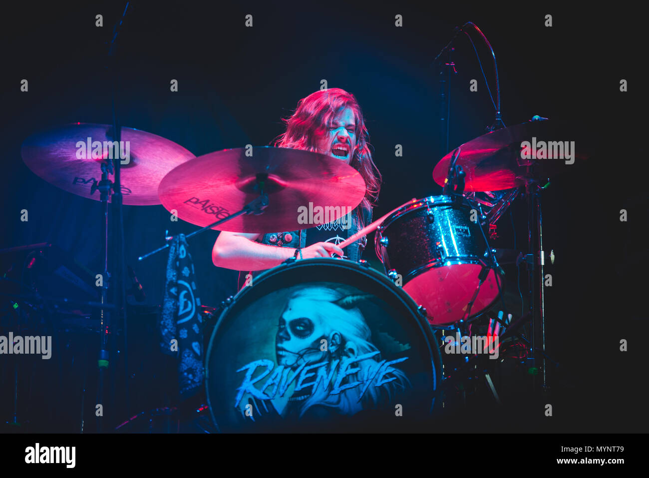 Italy: 2017 February 2nd: The English rock band Raveneye pictured performing live on stage at the Pala Alpitour, opening for the Kiss' World Tour 2017 Stock Photo
