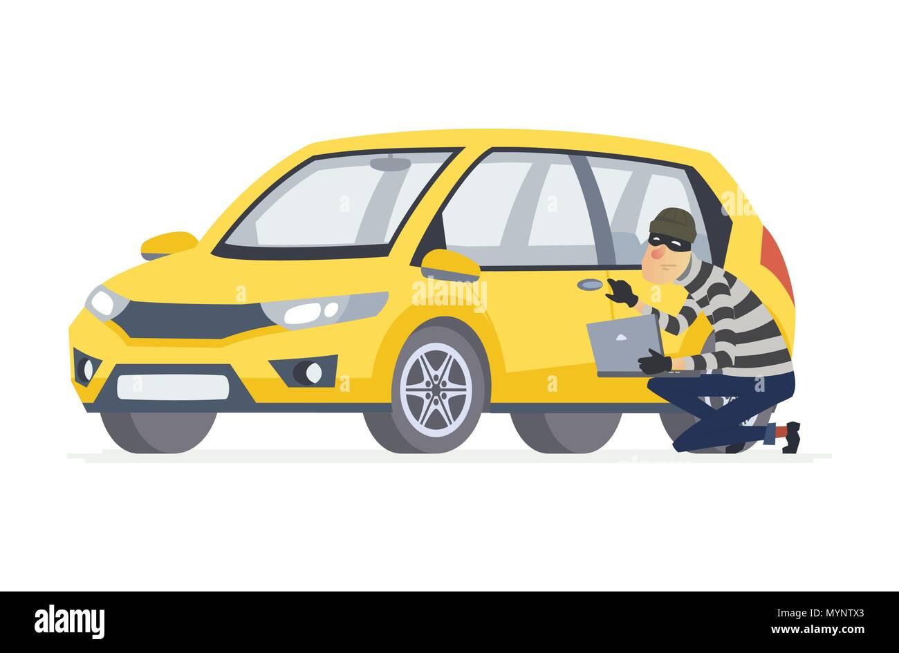 Car thief - cartoon people characters illustration - Stock Image