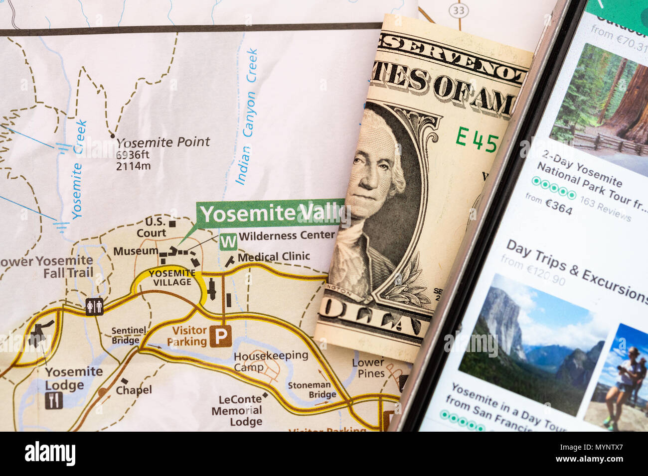 Travel accessories, smart phone, folded one Dollar bill and travel ...