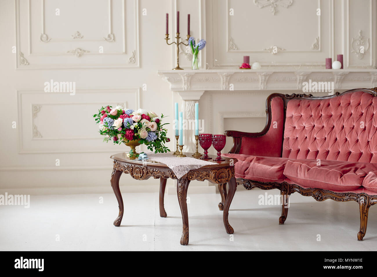 Outstanding Baroque Style Interior With Red Luxury Sofa And Table In The Gmtry Best Dining Table And Chair Ideas Images Gmtryco