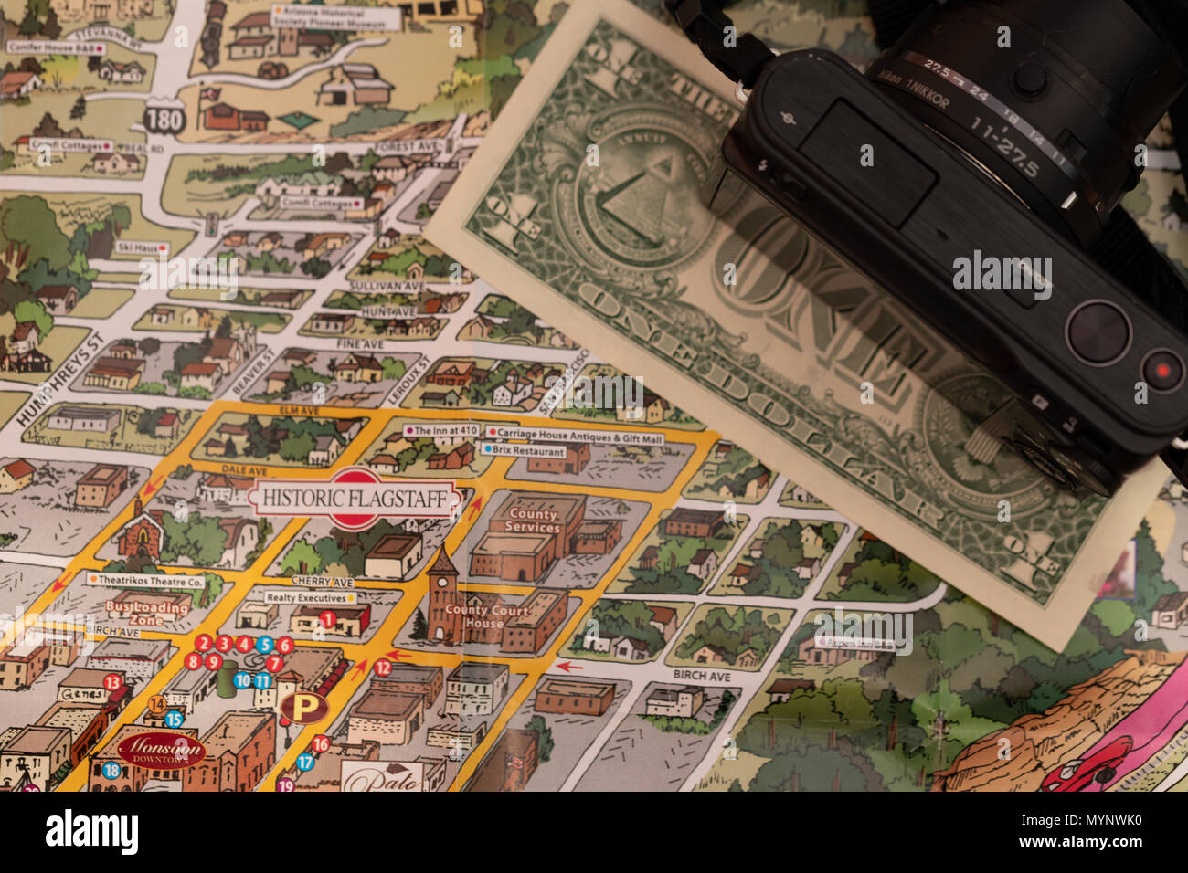 Detail of travel map Flagstaff, Arizona, USA with camera and one ...