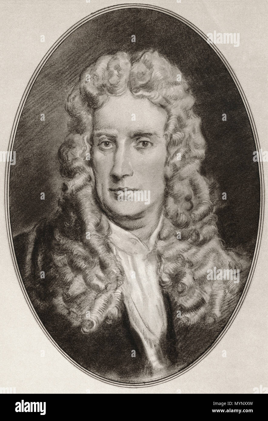Sir Isaac Newton, 1642 – 1726/27. English mathematician, astronomer, theologian, author, physicist and natural philosopher.  Illustration by Gordon Ross, American artist and illustrator (1873-1946), from Living Biographies of Famous Men. - Stock Image