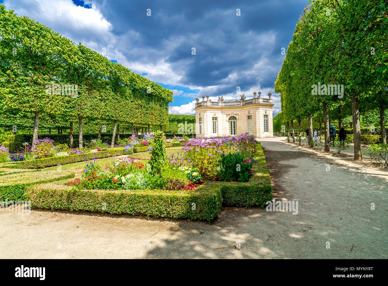 The impressive gardens within the grounds of the Palace of Versailles in France. - Stock Image