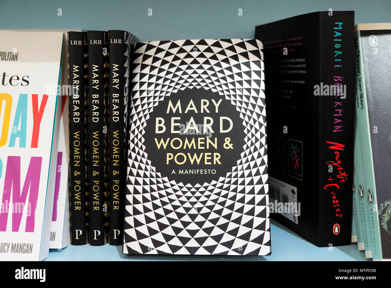 Mary Beard bookcover of  'Women & Power A Manifesto' on a bookshelf  at the Hay Festival 2018 bookstore in Hay-on-Wye UK   KATHY DEWITT - Stock Image