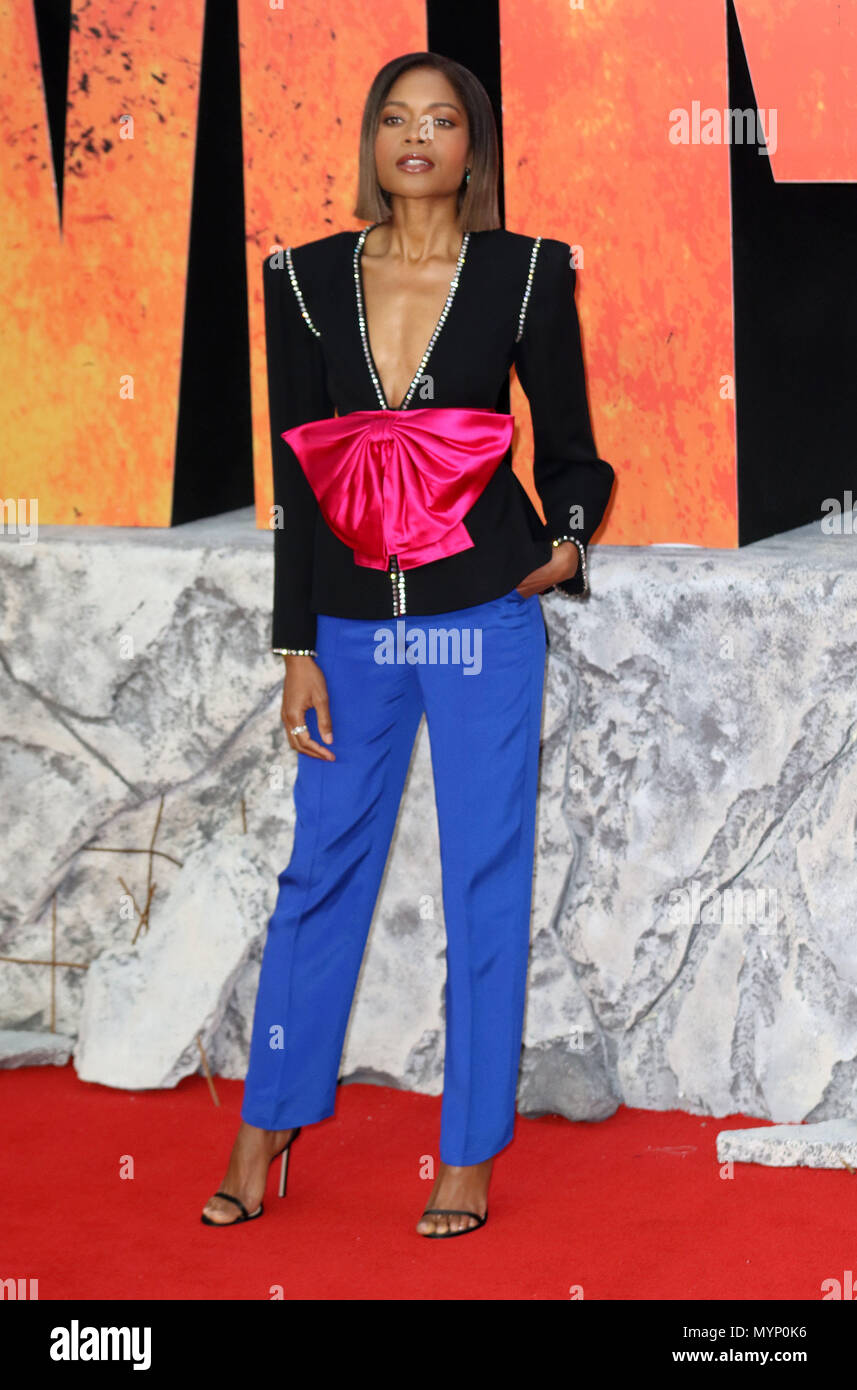 April 11, 2018 - Naomie Harris attending Rampage European Premiere at Cineworld Leicester Square in London, England, UK - Stock Image