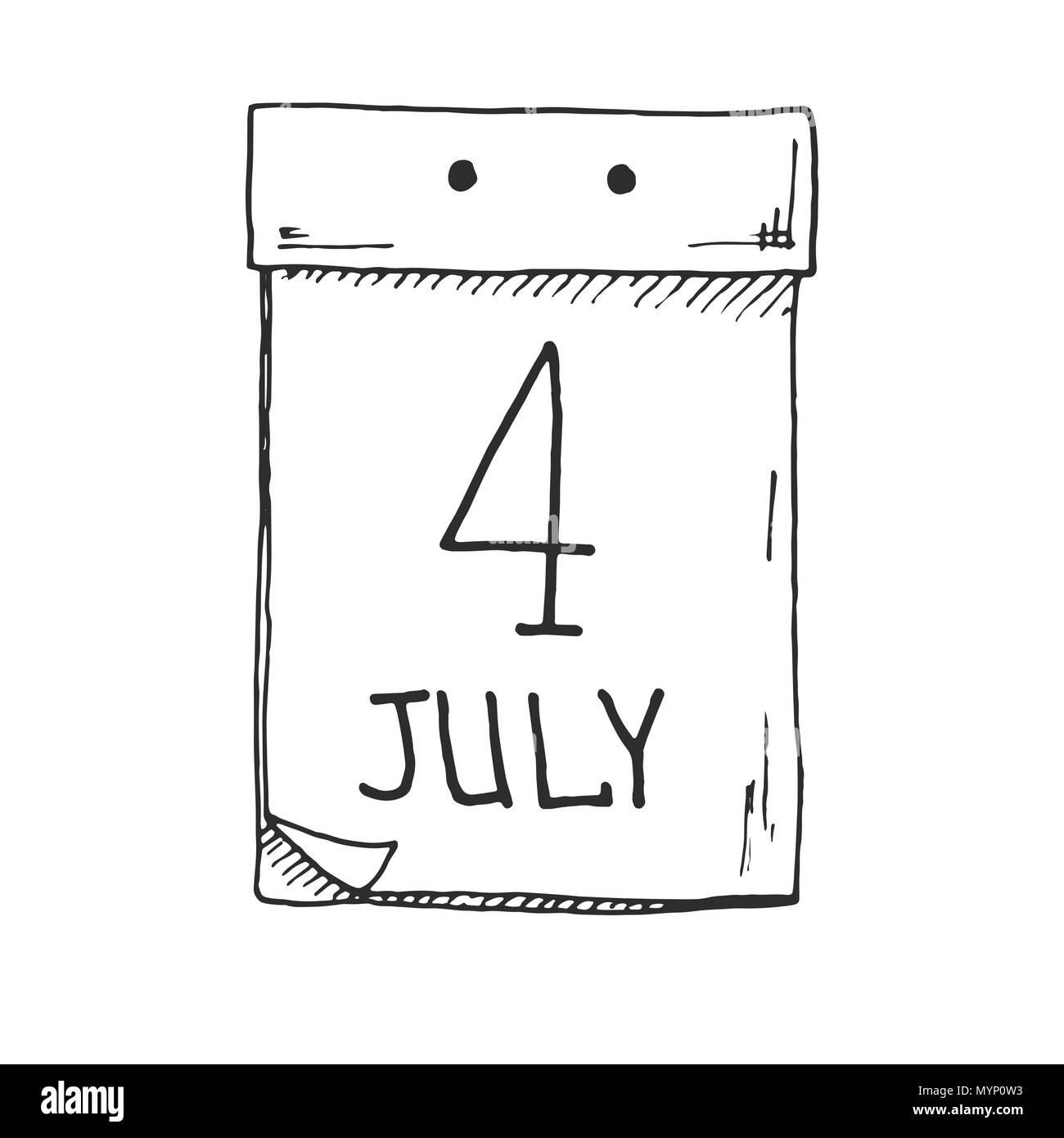 Sketch of a tear-off calendar. The date is 4 July. Vector - Stock Image