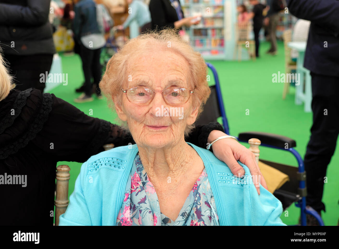 Welsh centenarian Helena Jones from Brecon featured in Tessa Dunlop book 'The Century Girls' in the Hay Festival bookstore Wales UK   KATHY DEWITT - Stock Image