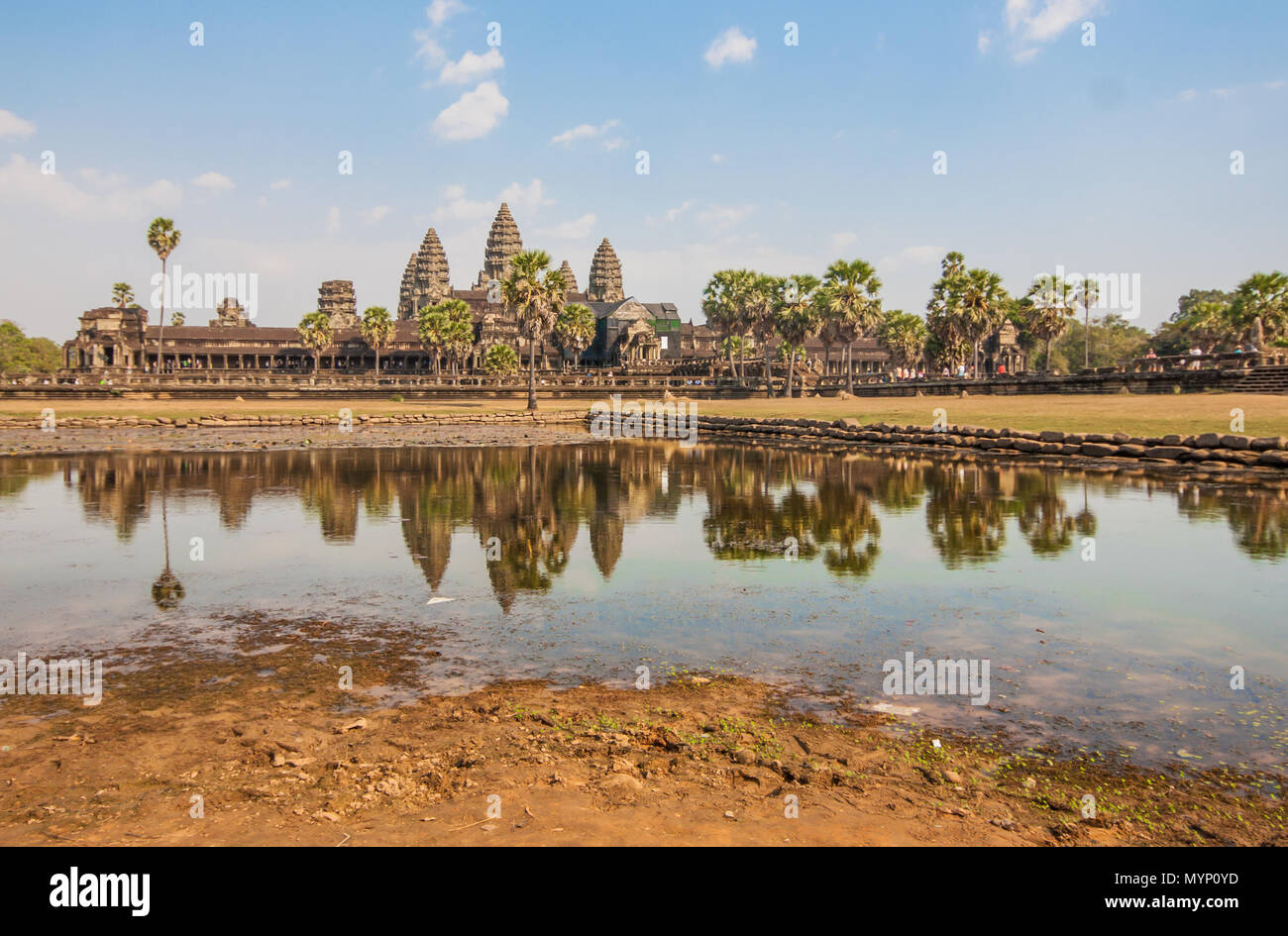 Angkor Wat, Cambodia - one the largest religious monument in the world, and the most famous landmark of the country. In the picture the main temple - Stock Image
