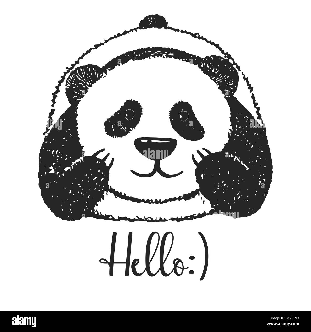 sketch of a cartoon panda vector illustration text hello stock