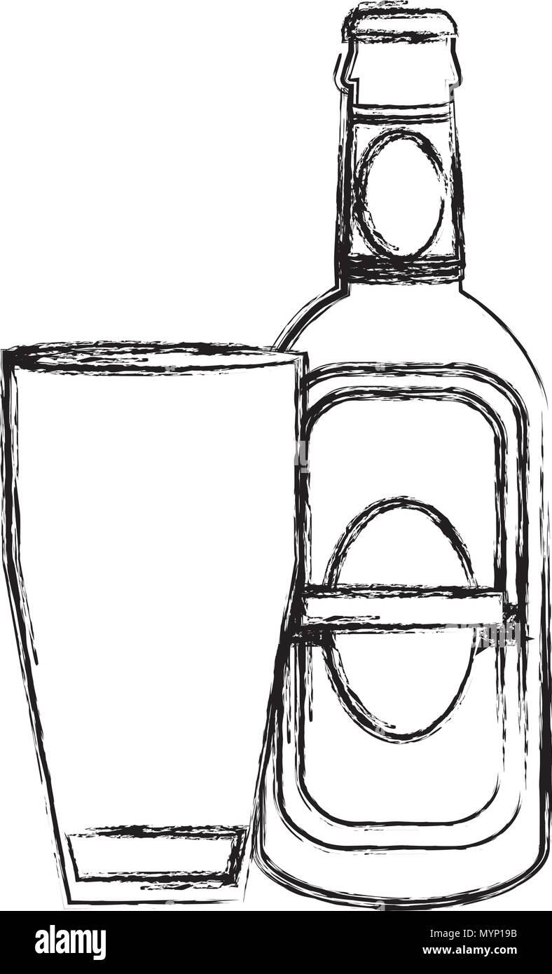 grunge schnapps liquor bottle beverage with glass Stock Vector