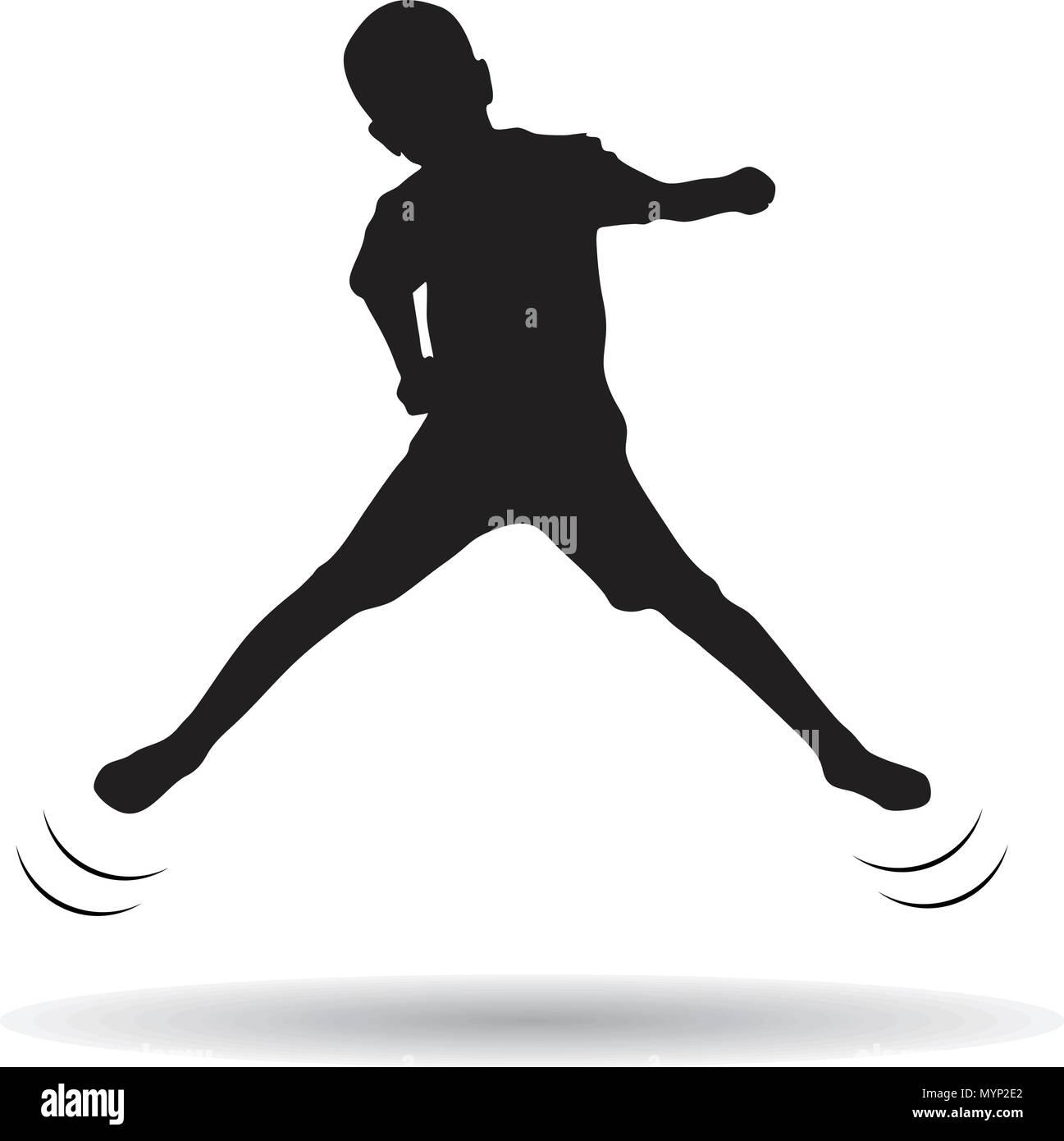 Boy jumping trampoline - Stock Vector