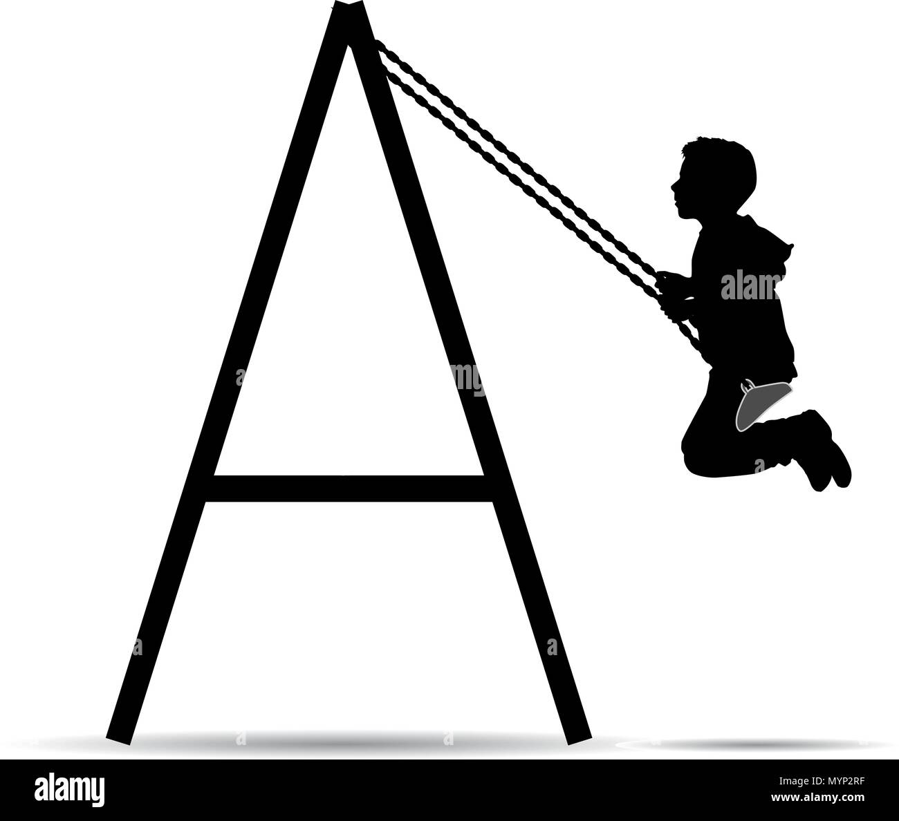 Boy swinging on the swing Stock Vector