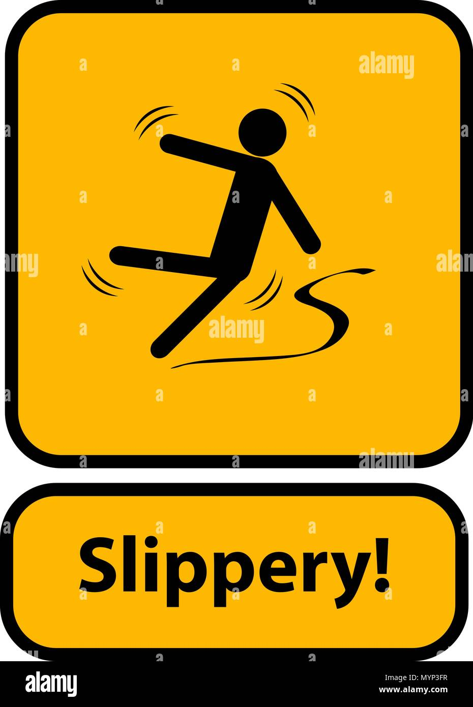 Slippery warning yellow sign - Stock Vector