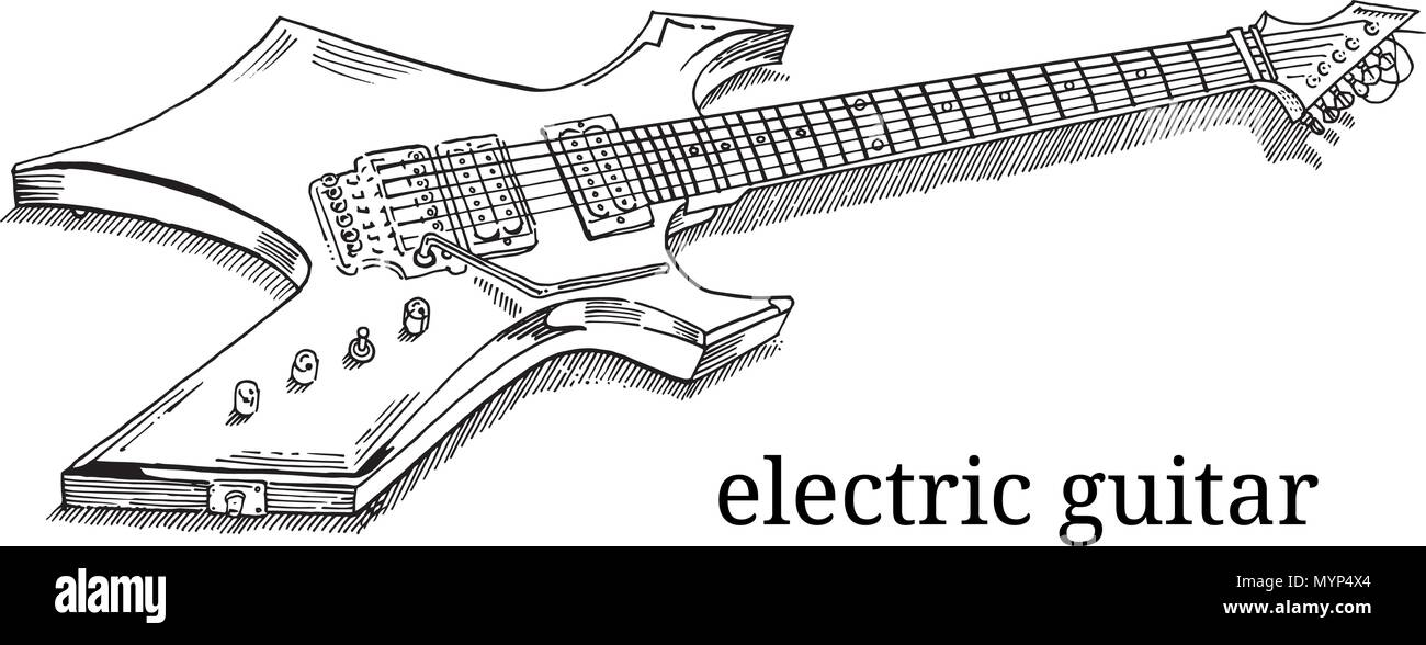 Close Up Of Lying Electric Guitar Line Art Outline Coloring Page Isolated On