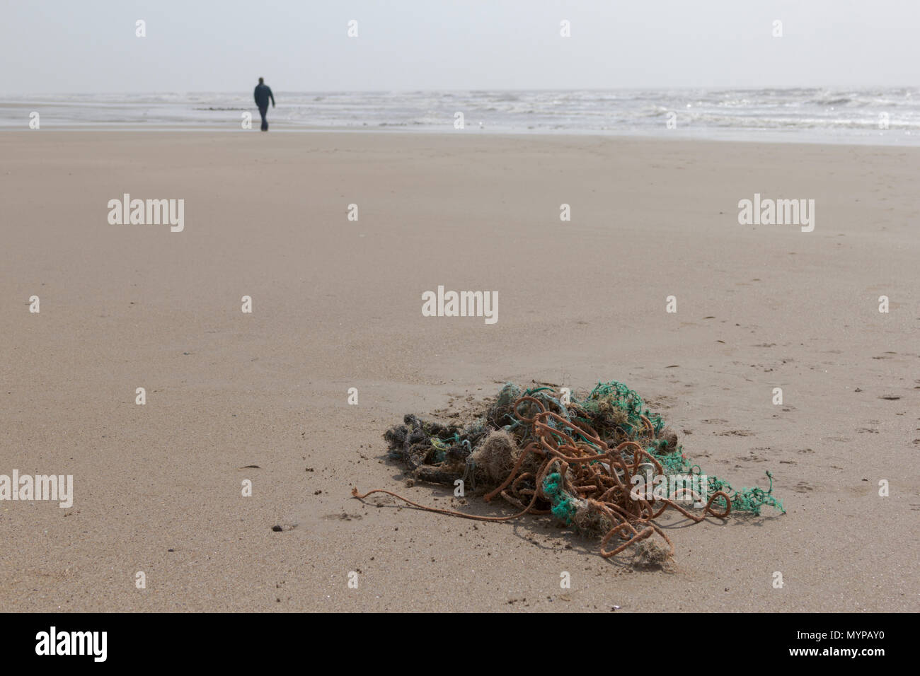 Plastic on the beach, Porthcawl, Mid Glamorgan, Wales, UK. 14th April 2018. UK. The end result of plastic and pollution on the planet. - Stock Image