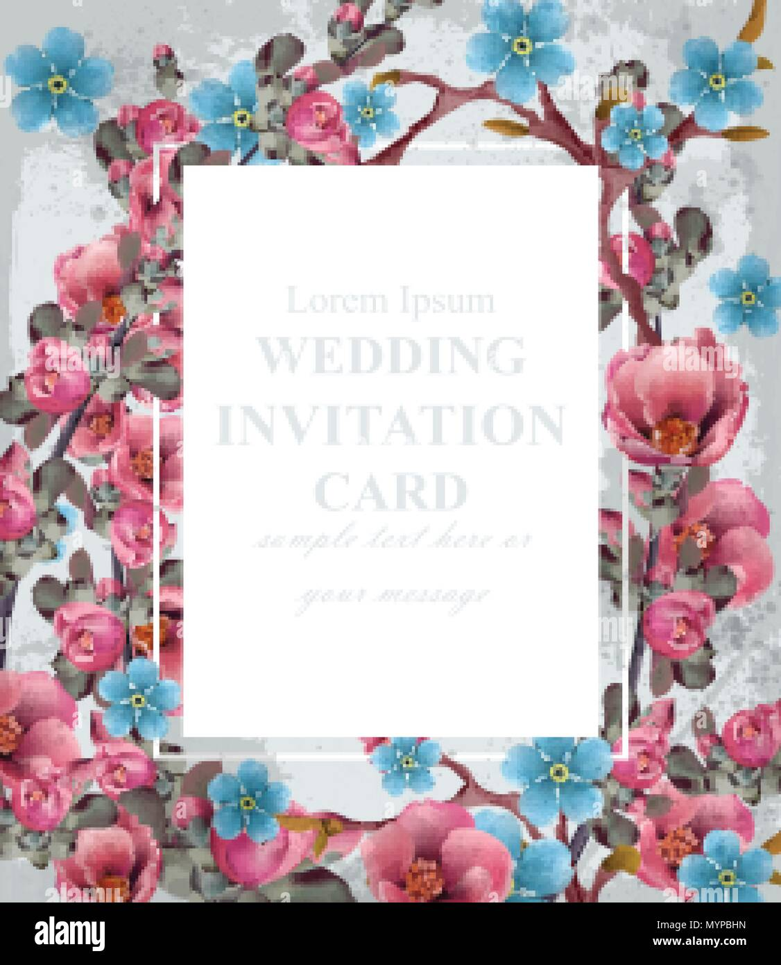 Wedding Invitation Card Vector Blue And Pink Spring Flowers
