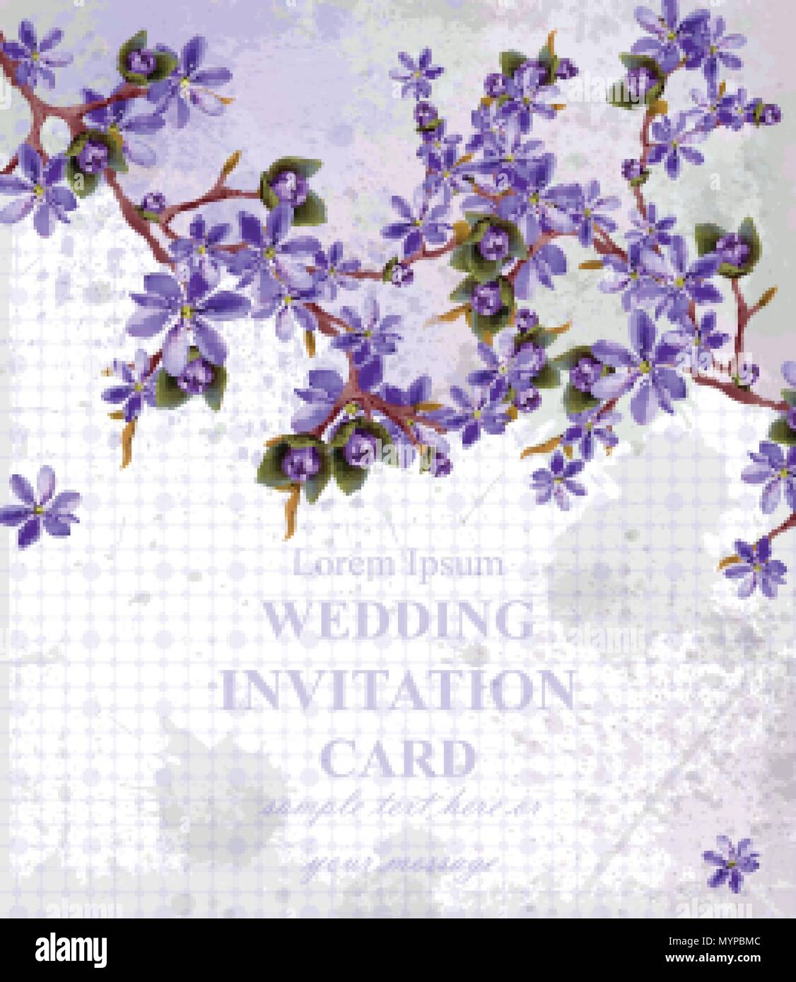 Vintage Wedding Invitation card with purple flowers Vector ...