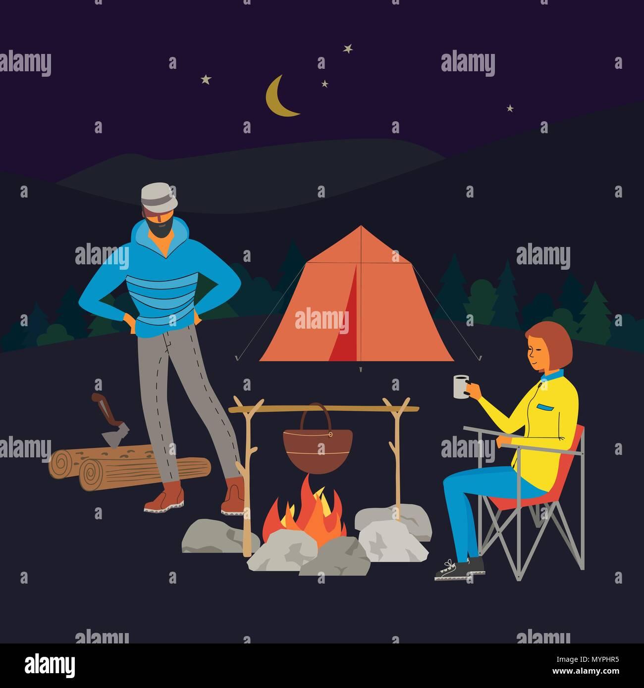 Tourist campfire concept Stock Vector