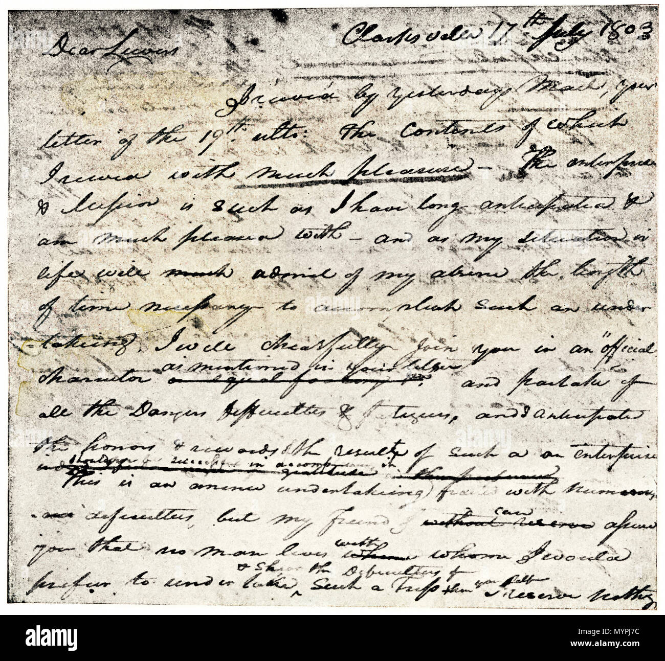William Clark's letter accepting Lewis's invitation to join the Corps of Discovery expedition, dated Clarksville 1803. Printed halftone with wash - Stock Image