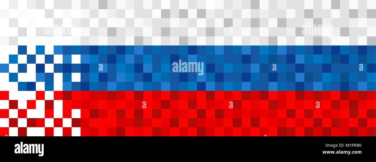 Russia flag background in pixel art style  Pixelated russian