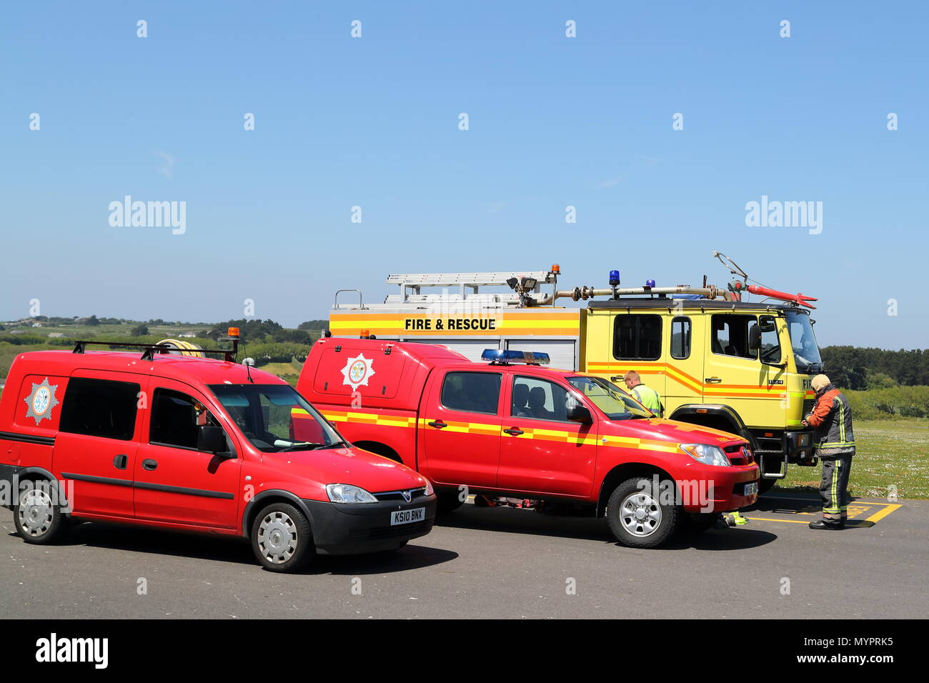 Firebrigade at the airport of St Marys, Isles of Scilly, UK - Stock Image