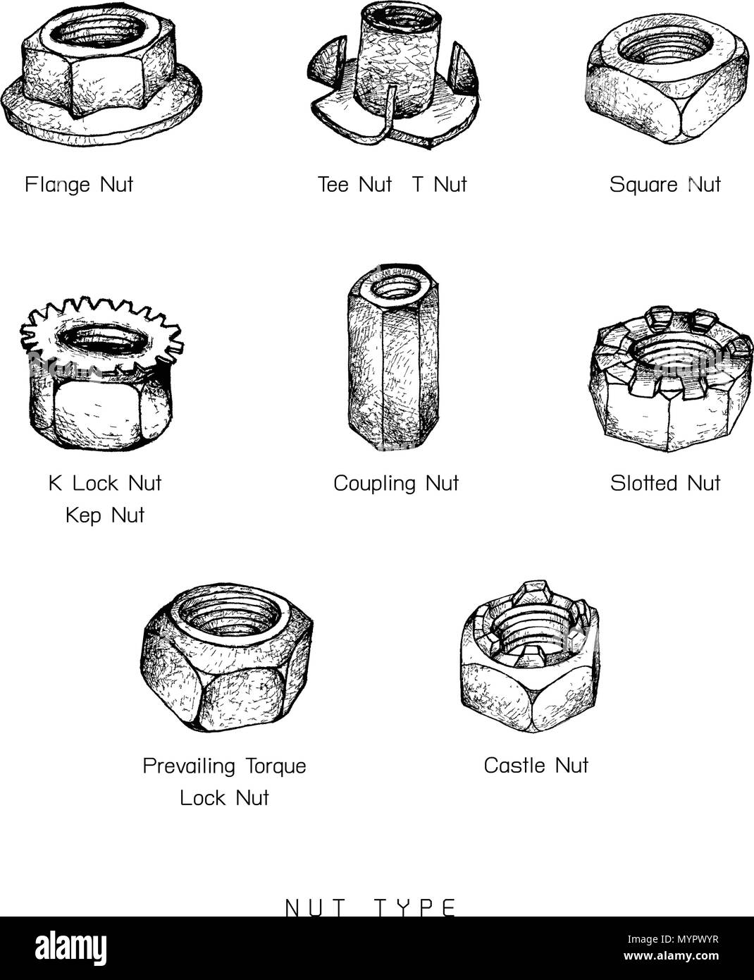 Manufacturing and Industry, Illustration Hand Drawn Sketch Set of Nuts Type. A Type of Fastener with Threaded Hole Used in Conjunction with A Mating B - Stock Vector
