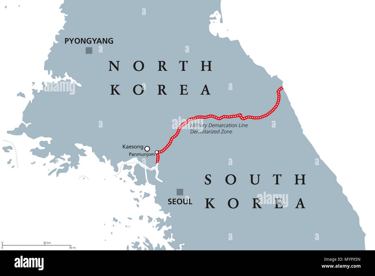 Korean Peninsula, Demilitarized Zone Area, political map. North and ...