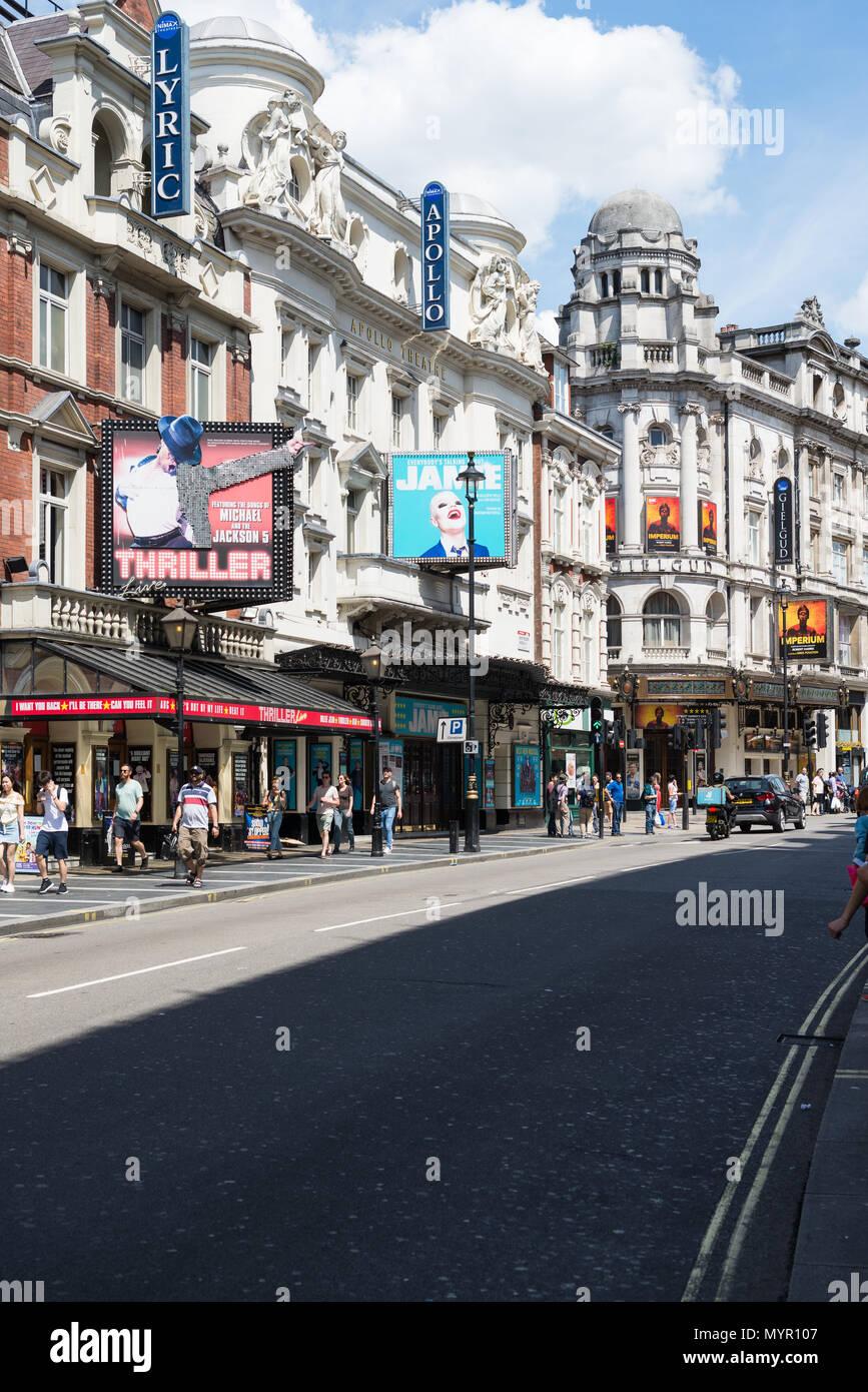 Lyric, Apollo and Gielgud theatres, Shaftesbury Avenue, Soho, London, England, UK - Stock Image