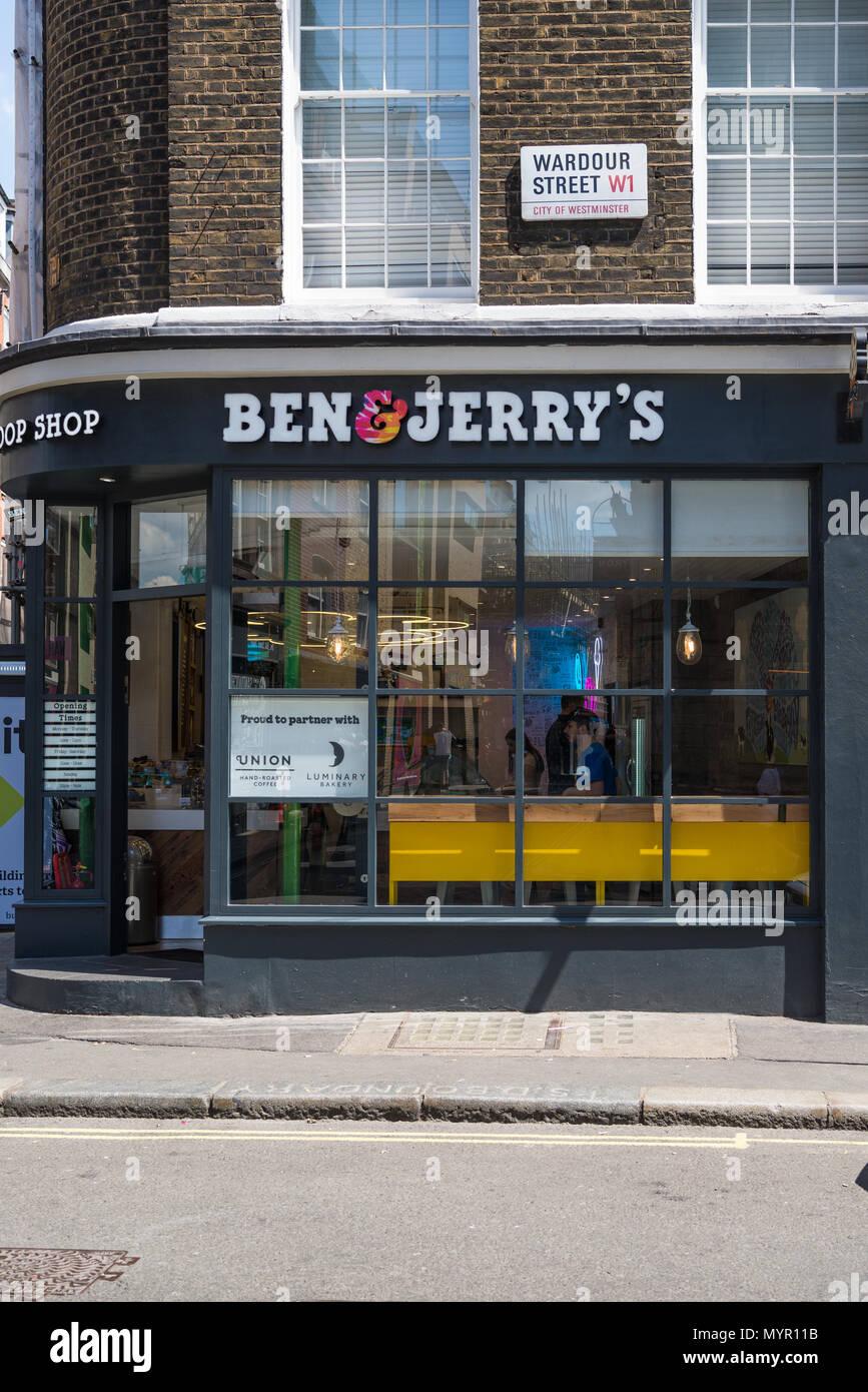 Ben and Jerry's ice cream parlour in Wardour Street, Soho, London, England, UK - Stock Image