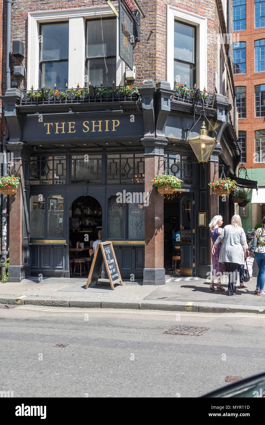 The Ship public house, Wardour Street, Soho, London, England, UK. - Stock Image