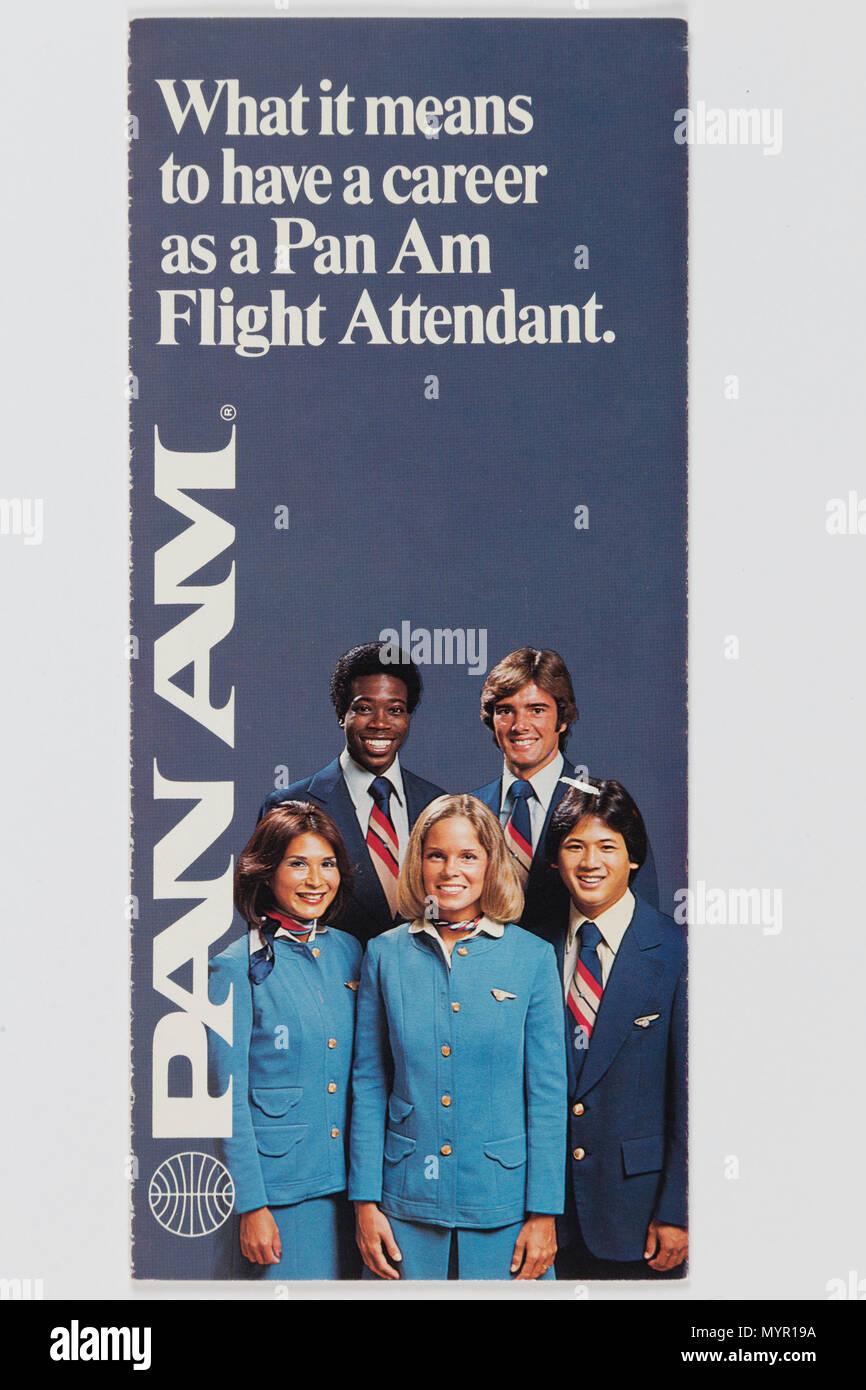 Vintage Pan Am Airlines Flight Attendant Brochure, USA - Stock Image